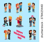 isometric valentines day....   Shutterstock . vector #378425440