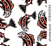 native salmon vector seamless... | Shutterstock .eps vector #378452554