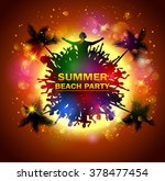 summer beach party with dance... | Shutterstock . vector #378477454