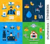 plumber serviceman tools kit... | Shutterstock .eps vector #378488086