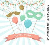 purim holiday card or banner... | Shutterstock .eps vector #378505039