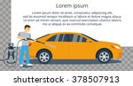 man washing a yellow car with...   Shutterstock .eps vector #378507913