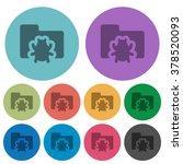 color bug folder flat icon set...