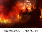 riots in the city  citizens in... | Shutterstock . vector #378575854
