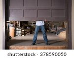 opening warehouse door | Shutterstock . vector #378590050