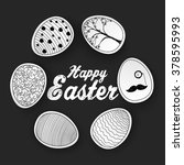 easter eggs with doodles... | Shutterstock .eps vector #378595993