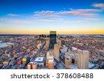 Boston, Massachusetts, USA downtown aerial skyline view. - stock photo