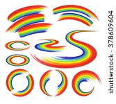 rainbows shapes set   circles... | Shutterstock .eps vector #378609604