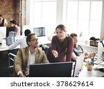 business team busy talking... | Shutterstock . vector #378629614
