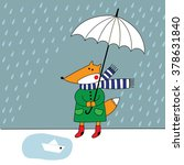 fox with umbrella in the rain | Shutterstock .eps vector #378631840