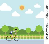 the sportsman is riding bicycle ... | Shutterstock .eps vector #378632584