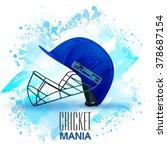 batsman helmet in blue color on ... | Shutterstock .eps vector #378687154