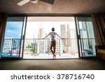 men look out through the window ... | Shutterstock . vector #378716740