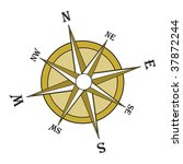 Brown compass rose. - stock photo