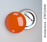 orange badge pin brooch mock up | Shutterstock . vector #378723340