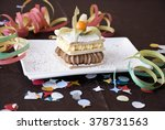 the milfoil cake with cream and ... | Shutterstock . vector #378731563