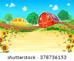 funny landscape with the farm... | Shutterstock .eps vector #378736153