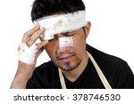 close up face of an injured man ... | Shutterstock . vector #378746530