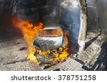riots in the city  citizens in...   Shutterstock . vector #378751258