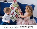 kids opening advent calendar   Shutterstock . vector #378765679