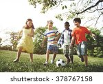 kids children playing football... | Shutterstock . vector #378767158