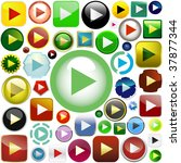 vector play button set. icon... | Shutterstock .eps vector #37877344