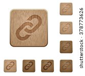 set of carved wooden link...