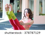 young girls do yoga | Shutterstock . vector #378787129