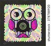 cute monster on grunge postage... | Shutterstock .eps vector #378788920