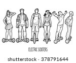 graphic people riding on... | Shutterstock .eps vector #378791644