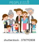 big family family and children  ... | Shutterstock .eps vector #378792808