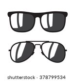 vector black sunglasse icons on ... | Shutterstock .eps vector #378799534