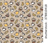 seamless vector coffee pattern | Shutterstock .eps vector #378810418