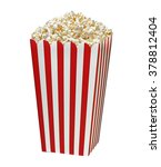 popcorn in striped bucket... | Shutterstock . vector #378812404