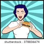 happy woman eating hamburger... | Shutterstock .eps vector #378836674