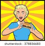 happy woman eating hamburger...   Shutterstock .eps vector #378836683