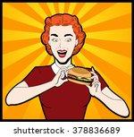 happy woman eating hamburger...   Shutterstock .eps vector #378836689