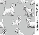 scottish terrier pattern   Shutterstock .eps vector #378838990