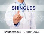 doctor hand touching shingles... | Shutterstock . vector #378842068