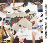 business travel meeting... | Shutterstock . vector #378866680