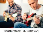 guitar lesson  focus on hand | Shutterstock . vector #378885964