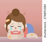 pitiful crying woman cartoon... | Shutterstock .eps vector #378892384