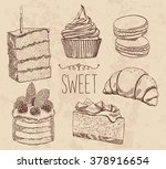 vector drawing cakes  sweets ... | Shutterstock .eps vector #378916654