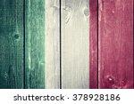 Italian Flag On Wood Background