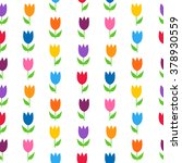 colorful tulips over white... | Shutterstock .eps vector #378930559