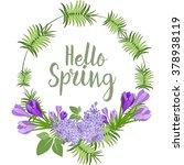 spring floral vector wreath | Shutterstock .eps vector #378938119
