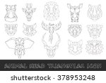 Stock vector front view of animal head triangular icon set geometric trendy line design vector illustration 378953248