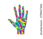 hand palm stylized triangle... | Shutterstock .eps vector #378967360