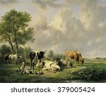 meadow with animals  by jan van ... | Shutterstock . vector #379005424