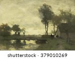 Landscape With Farm With A Pond ...